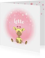 Geboortekaartjes - Geboorte meisje lief roze met girafje en sterren