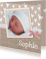 Geboortekaartjes - Geboorte meisje op jute