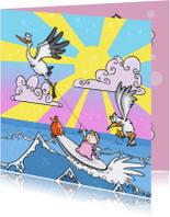 Geboortekaartjes - Geboorte meisje surfen-JB