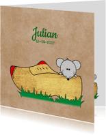 Geboortekaartjes - Geboorte muis in gouden klomp kraft