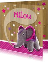 Geboortekaartjes - Geboorte olifant vilt roze - HR