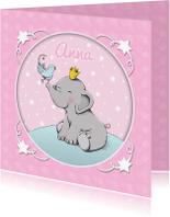 Geboortekaartjes - Geboorte olifant vogeltje - IH