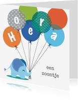 Felicitatiekaarten - Geboorte olifantje jongen blauw