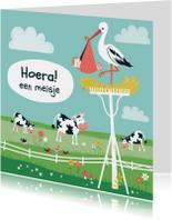 Felicitatiekaarten - Geboorte ooievaar + koe meisje