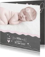 Geboortekaartjes - Geboorte Schoolbord Foto Mila