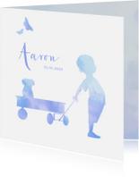 Geboortekaartjes - geboorte silhouet waterverf jongen avontuur