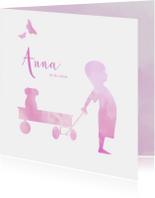 Geboortekaartjes - geboorte silhouet waterverf meisje avontuur