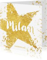 Geboortekaartjes - Geboorte stoere kaart met goudkleurige ster