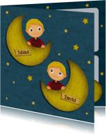 Geboortekaartjes - Geboorte Tweeling Jongens Maan