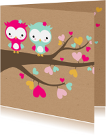Geboortekaartjes - Geboorte - Tweeling uiltjes in boom