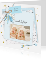 Geboortekaartjes - Geboorte tweeling veertjes jongen