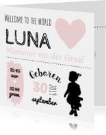 Geboortekaartjes - Geboorte typografisch luna - B