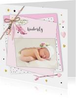 Geboortekaartjes - Geboorte veertjes papiertjes