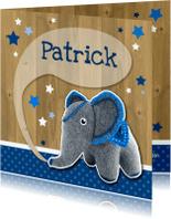 Geboortekaartjes - Geboorte vilten olifant blauw