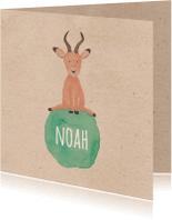 Geboortekaartjes - Geboorte watercolor antilope-isf