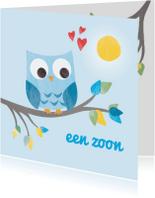 Felicitatiekaarten - Geboorte zoon - blauw uiltje