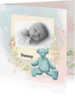 Geboortekaartjes - Geboorte zoon waterverf -beer-