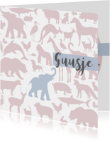 Geboortekaartjes - Geboortekaart Animal tikje retro pink hippe kaart