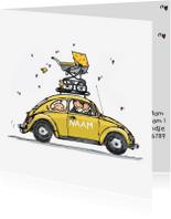 Geboortekaartjes - Geboortekaart Auto geel