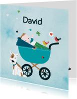 Geboortekaartjes - Geboortekaart babyjongetje wagen