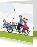 Geboortekaartjes - Geboortekaart bakfiets blauw klant