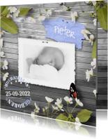 Geboortekaartjes - Geboortekaart bloemen en vlinder A