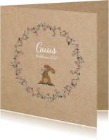 Geboortekaartjes - Geboortekaart bloemenkrans met lief konijntje