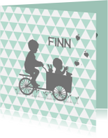 Geboortekaartjes - Geboortekaart broer met bakfiets