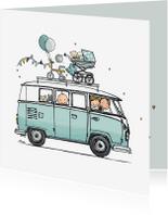 Geboortekaartjes - Geboortekaart busje mint av