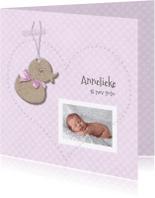 Geboortekaartjes - Geboortekaart eendje meisje