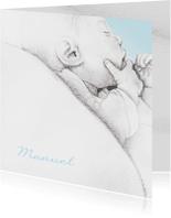 Geboortekaartjes - Geboortekaart getekend baby'tje