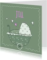 Geboortekaartjes - Geboortekaart groene wandelwagen