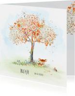 Geboortekaartjes - Geboortekaart hertje boom herfst