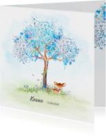 Geboortekaartjes - Geboortekaart hertje met boom-jongen