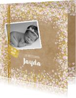 Geboortekaartjes - Geboortekaart hip en lief  met hartjes sterren bloemen