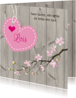 Geboortekaartjes - Geboortekaart hout hart tak