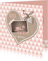 Geboortekaartjes - Geboortekaart krafthart roze
