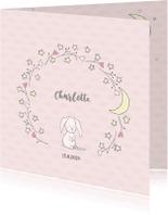 Geboortekaartjes - Geboortekaart lief konijntje, sterren, hartjes