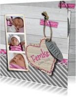 Geboortekaartjes - geboortekaart meisje foto hout