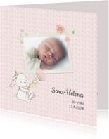 Geboortekaartjes - Geboortekaart meisje kabelpatroon