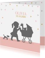 Geboortekaartjes - Geboortekaart meisje met kinderwagen av