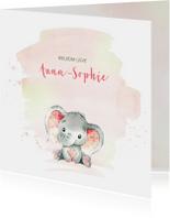 Geboortekaartjes - Geboortekaart meisje olifantje waterverf