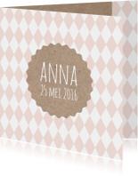 Geboortekaartjes - Geboortekaart meisje ruit karton
