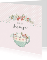 Geboortekaartjes - Geboortekaart meisje - theekop, konijn en bloemen