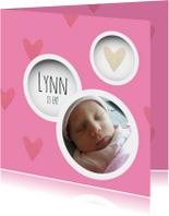 Geboortekaartjes - Geboortekaart met foto, cirkels en hartjes