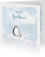 Geboortekaart met pinguin op ijsschots