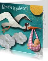 Geboortekaartjes - Geboortekaart - Ooievaar meisje