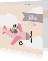 Geboortekaartjes - Geboortekaart pinguinvliegtuig meisje - HB