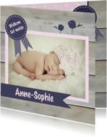 Geboortekaartjes - Geboortekaart roze vlag en vogel