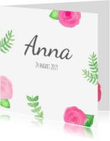 Geboortekaartjes - Geboortekaart rozen en blaadjes